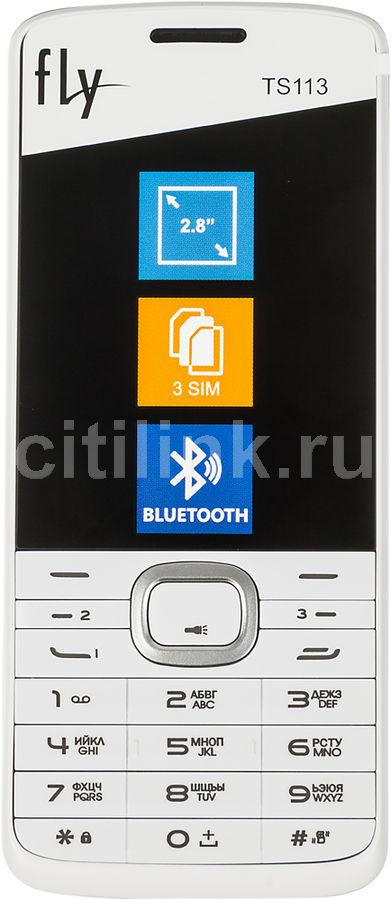 """Мобильный телефон Fly TS113 белый моноблок 2Sim 2.8"""" TN 240x320 0.3Mpix BT (отремонтированный)"""