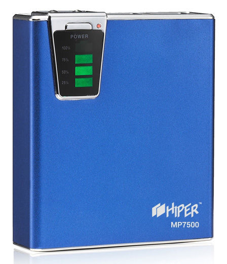 Внешний аккумулятор (Power Bank) HIPER MP7500,  7500мAч,  синий [mp7500 blue]