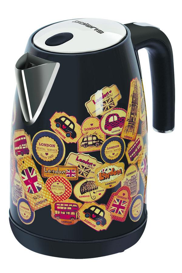 Чайник электрический POLARIS PWK 1882CA London, 2200Вт, черный глянец и рисунок