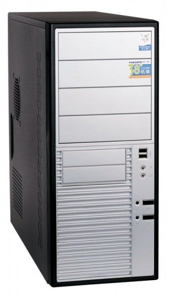 Корпус ATX FOXCONN TLA-476, 350Вт,  черный и серебристый