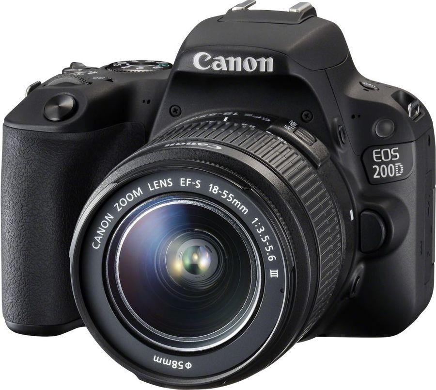 Зеркальный фотоаппарат CANON EOS 200D kit ( EF-S 18-55mm f/3.5-5.6 DC III),  черный