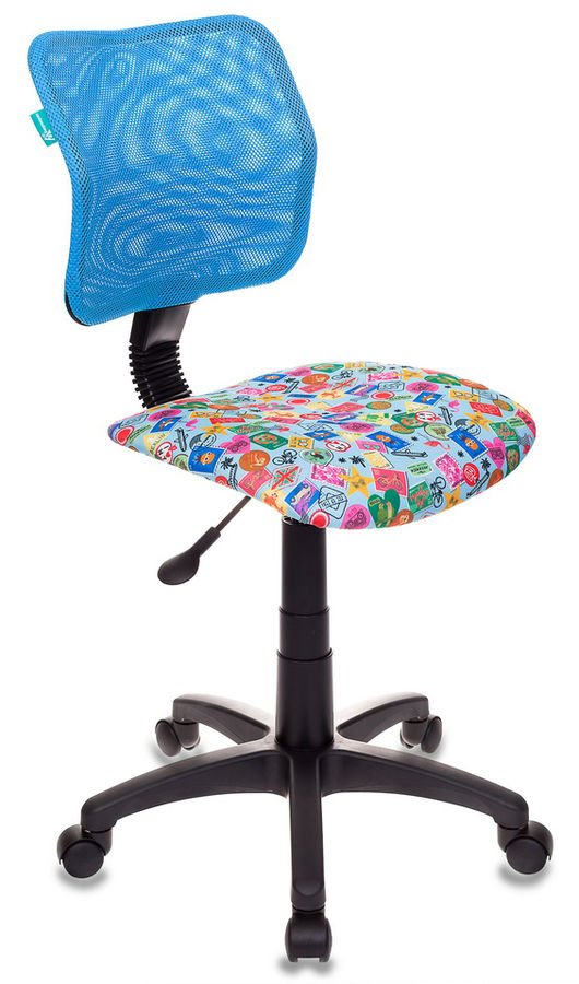 Кресло детское БЮРОКРАТ CH-295, на колесиках, ткань, голубой [ch-295/lb/mark-lb]