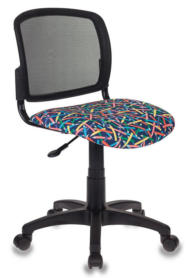 Кресло детское БЮРОКРАТ CH-296, на колесиках, ткань, синий [ch-296/pencil-bl]