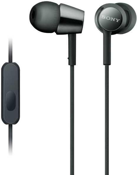 Наушники с микрофоном SONY MDR-EX155AP, 3.5 мм, вкладыши, черный [mdrex155apb.e]