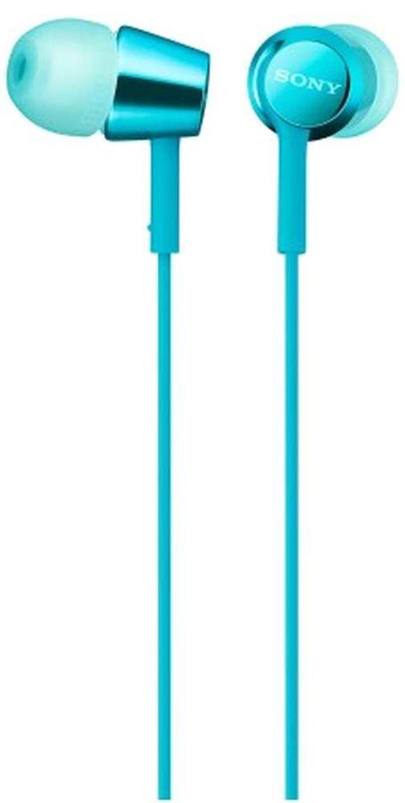 Наушники с микрофоном SONY MDR-EX155AP, 3.5 мм, вкладыши, голубой [mdrex155apl.e]