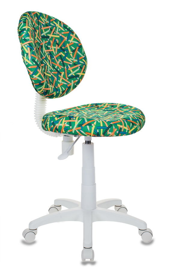 Кресло детское БЮРОКРАТ KD-W6, на колесиках, ткань, зеленый [kd-w6/pencil-gn]