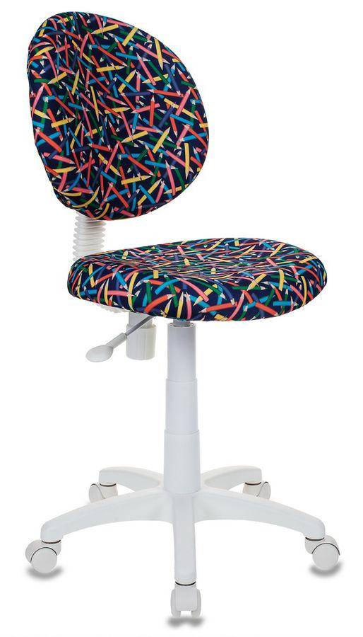 Кресло детское БЮРОКРАТ KD-W6, на колесиках, ткань, синий [kd-w6/pencil-bl]