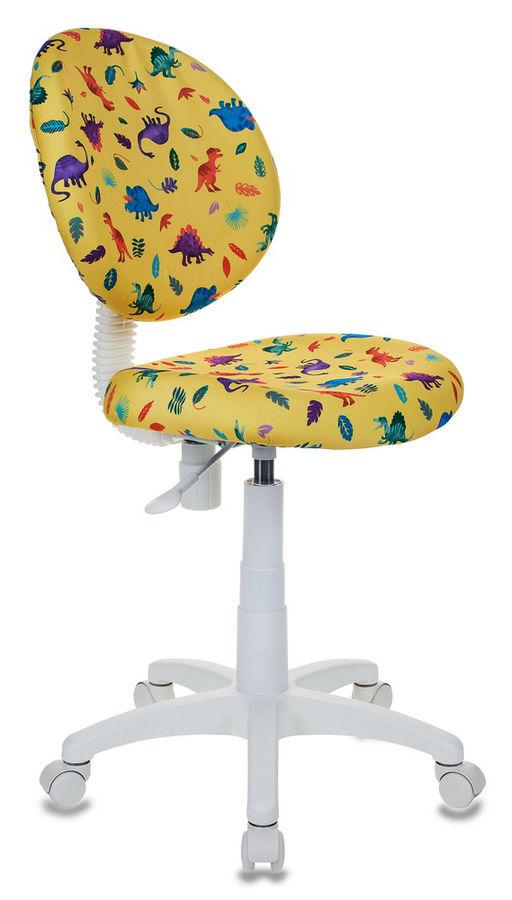 Кресло детское БЮРОКРАТ KD-W6, на колесиках, ткань, желтый [kd-w6/dino-y]