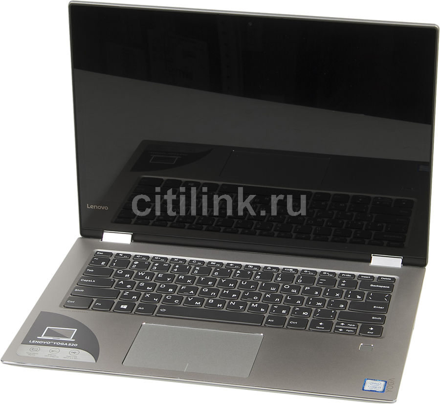 Ноутбук-трансформер LENOVO YOGA 520-14IKB, 14, Intel Core i3 7100U 2.4ГГц, 4Гб, 128Гб SSD, Intel HD Graphics 620, Windows 10, серый [80x8008trk]Ноутбуки<br>экран: 14; cенсорный экран; разрешение экрана: 1920х1080; тип матрицы: IPS; процессор: Intel Core i3 7100U; частота: 2.4 ГГц; память: 4096 Мб, DDR4; SSD: 128 Гб; Intel HD Graphics 620; WiFi;  Bluetooth; HDMI; WEB-камера; Windows 10<br>