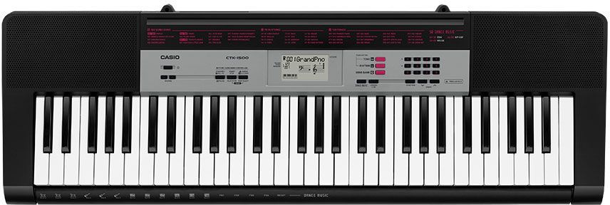 Синтезатор CASIO CTK-1500, 61, невзвешенная, полноразмерные, 32, черный