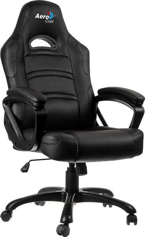 Кресло игровое AEROCOOL AC80C, на колесиках, кожа, черный [428062]