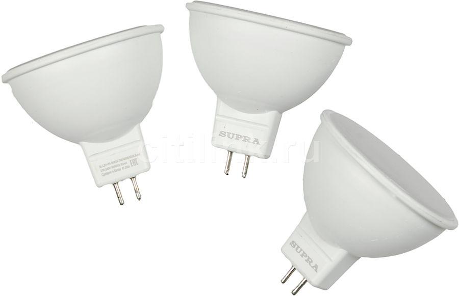 Лампа SUPRA SL-LED-PR-MR16, 7Вт, 550lm, 30000ч,  4000К, GU5.3,  3 шт. [10280]