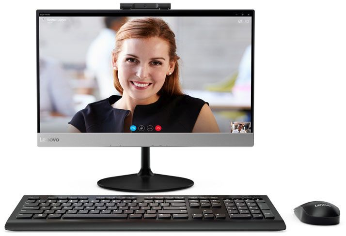Моноблок LENOVO V410z, Intel Core i5 7400T, 4Гб, 500Гб, Intel HD Graphics 630, DVD-RW, noOS, черный [10qv001fru]