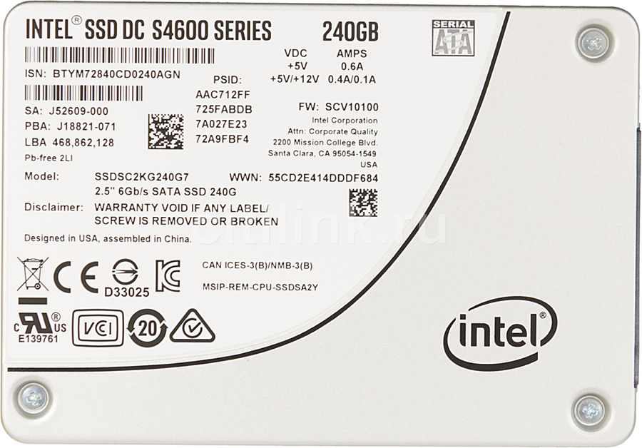 """SSD накопитель INTEL DC S4600 SSDSC2KG240G701 240Гб, 2.5"""", SATA III [ssdsc2kg240g701 956903]"""