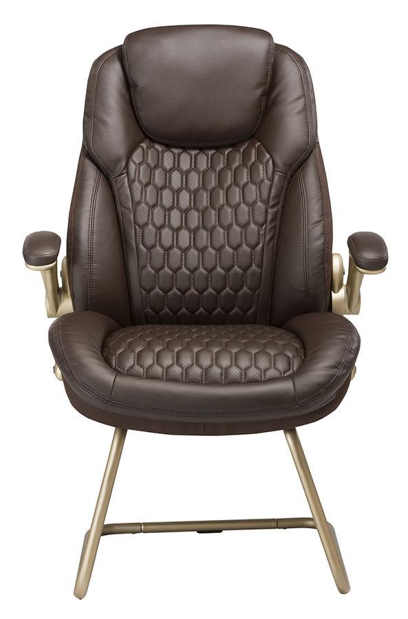 Кресло БЮРОКРАТ T-9917, на полозьях, рециклированная кожа/кожзам, коричневый [t-9917a-low-v/brown]