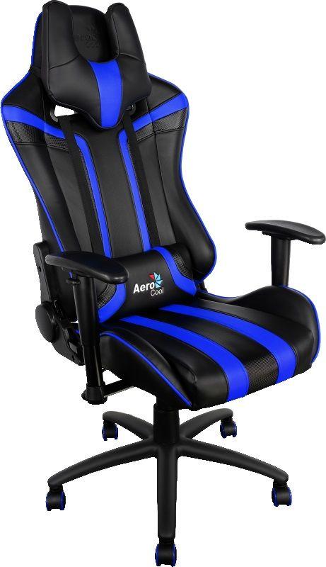 Кресло игровое AEROCOOL AC120-BB, на колесиках, искусственная кожа, черный/синий [428415]