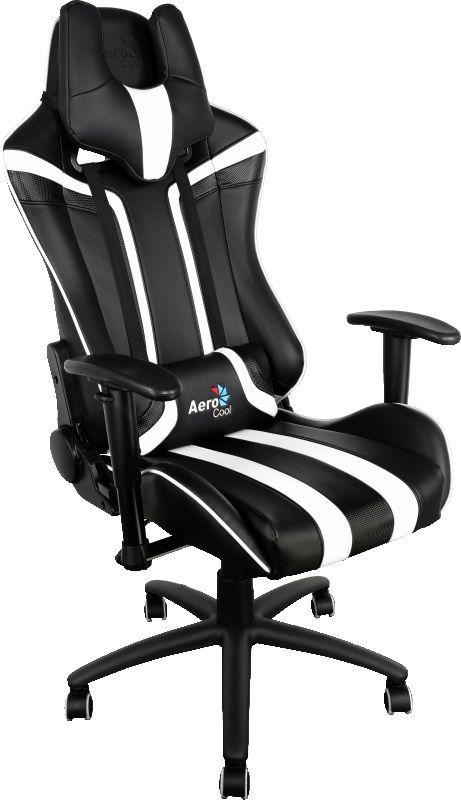 Кресло игровое AEROCOOL AC120-BW, на колесиках, искусственная кожа, черный/белый [428413]