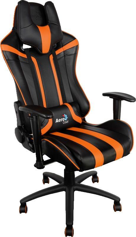 Кресло игровое AEROCOOL AC120-BO, на колесиках, искусственная кожа, черный/оранжевый [428419]