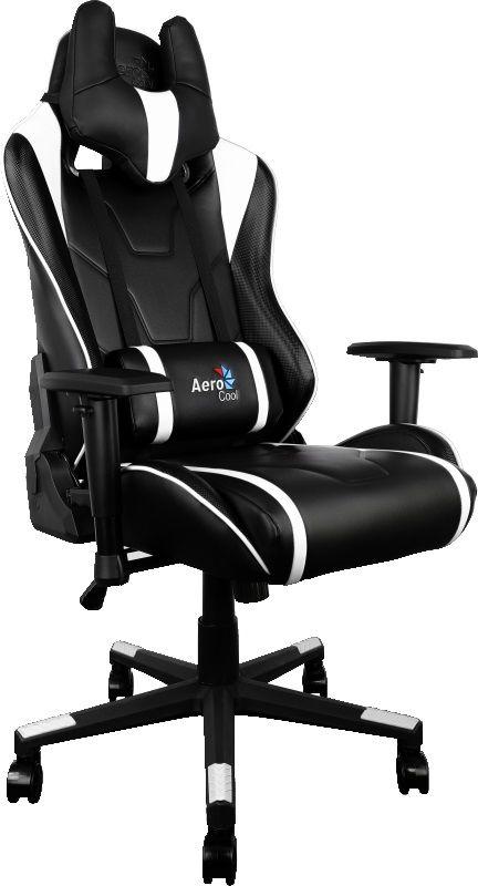 Кресло игровое AEROCOOL AC220-BW, на колесиках, искусственная кожа, черный/белый [428430]