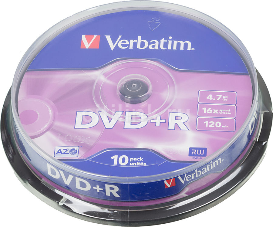 Оптический диск DVD+R VERBATIM 4.7Гб 16x, 10шт., cake box [43498] диск dvd r verbatim 4 7gb 16x cake box 10 шт