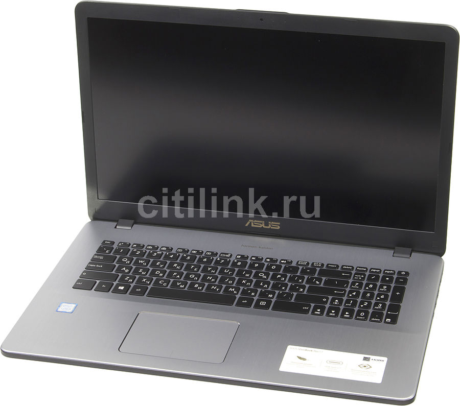 Ноутбук ASUS N705UN-GC023T, 17.3, Intel Core i5 7200U 2.5ГГц, 8Гб, 1000Гб, nVidia GeForce Mx150 - 2048 Мб, Windows 10, 90NB0GV1-M00230, темно-серый
