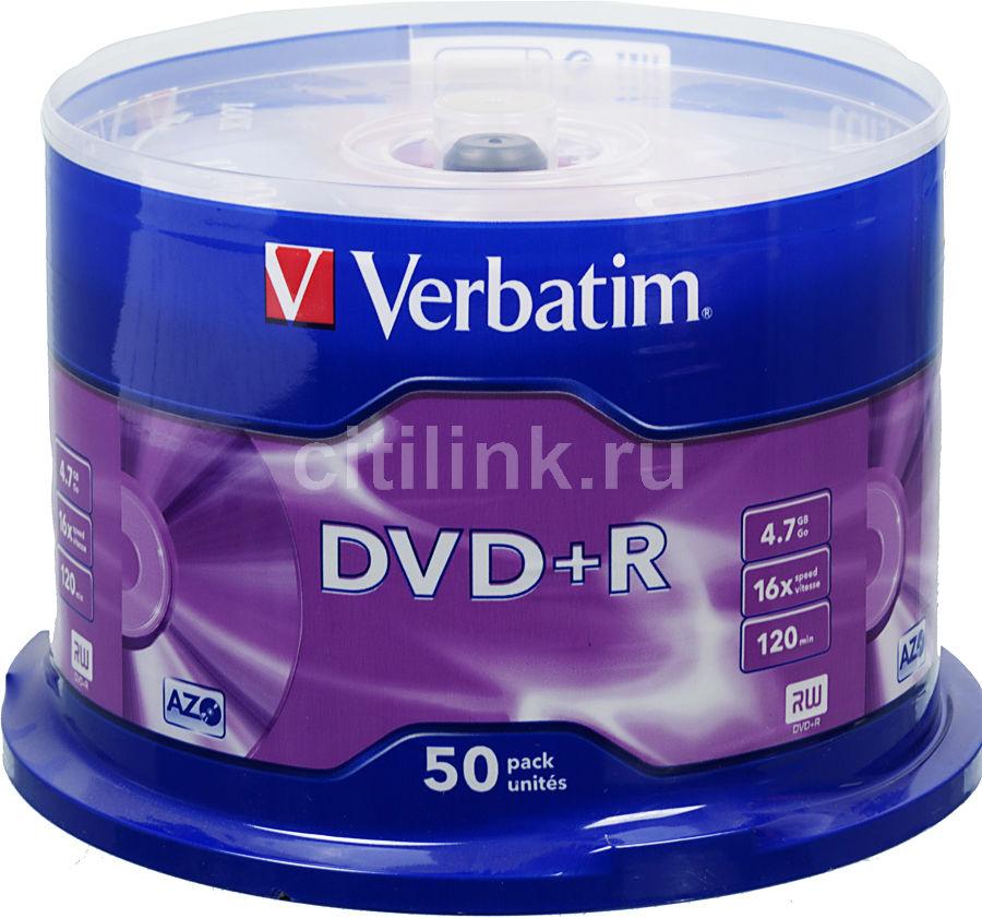 Оптический диск DVD+R VERBATIM 4.7Гб 16x, 50шт., cake box [43550]