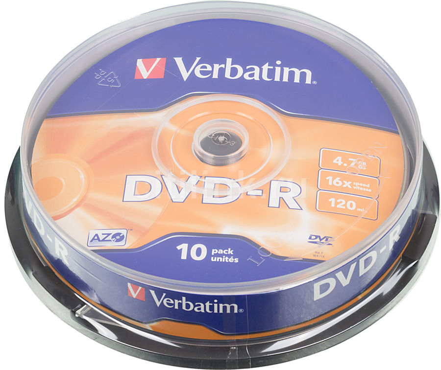 Оптический диск DVD-R VERBATIM 4.7Гб 16x, 10шт., cake box [43523]