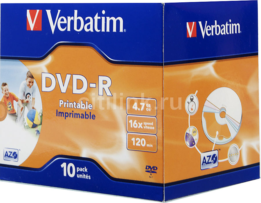 Оптический диск DVD-R VERBATIM 4.7Гб 16x, 10шт., jewel case, printable [43521]