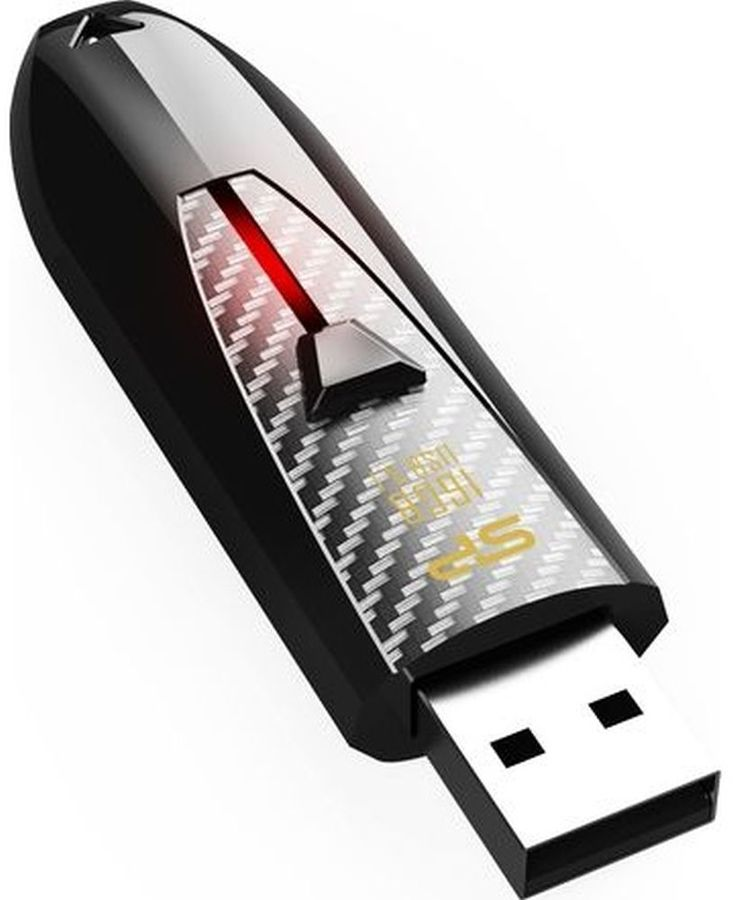 Флешка USB SILICON POWER Blaze B25 16Гб, USB3.0, черный [sp016gbuf3b25v1k]