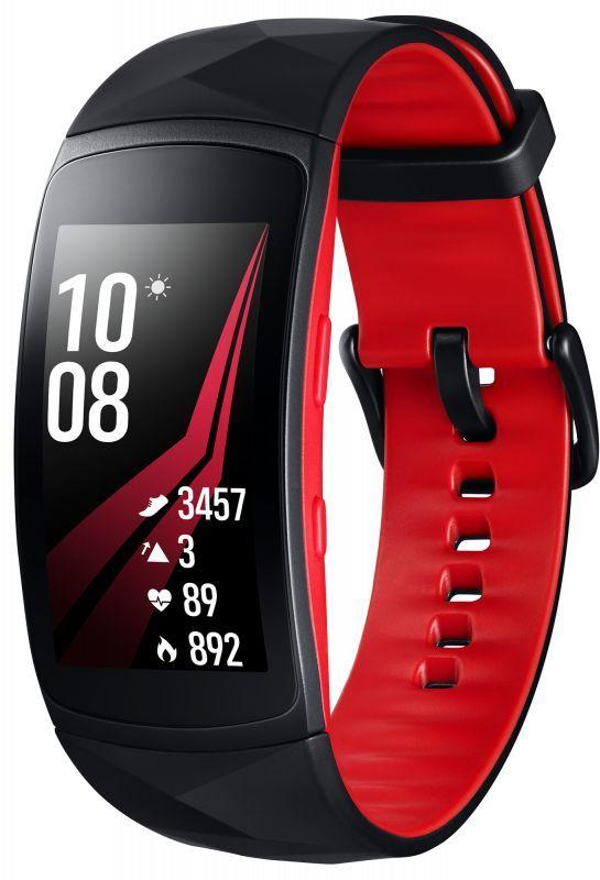 """Смарт-часы SAMSUNG Galaxy Gear Fit 2 Pro,  1.5"""",  черный / черный/красный [sm-r365nzraser]"""