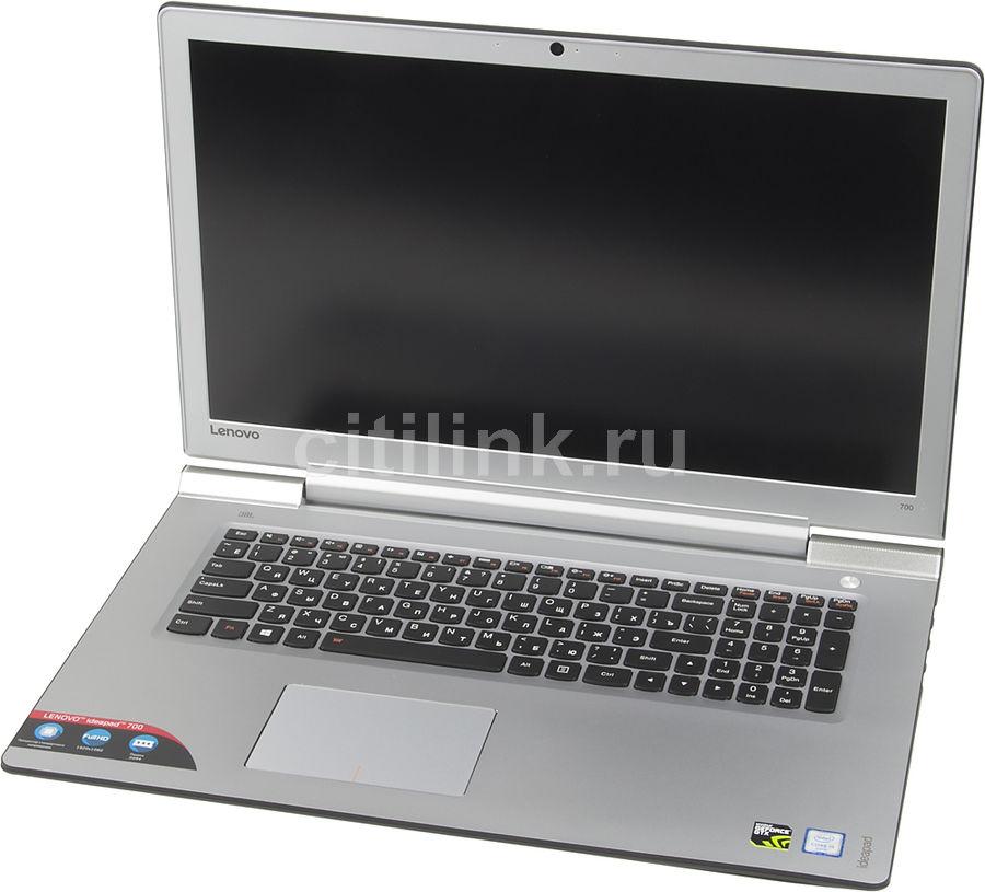 "Ноутбук LENOVO IdeaPad 700-17ISK, 17.3"", Intel  Core i5  6300HQ 2.3ГГц, 8Гб, 1000Гб, 128Гб SSD,  nVidia GeForce  GTX 950M - 4096 Мб, Free DOS, 80RV00AHRK,  черный/серебристый"