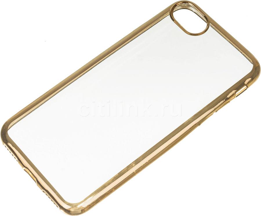 Чехол (клип-кейс) DF iCase-08, для Apple iPhone 7, прозрачный [df icase-08 (gold)]