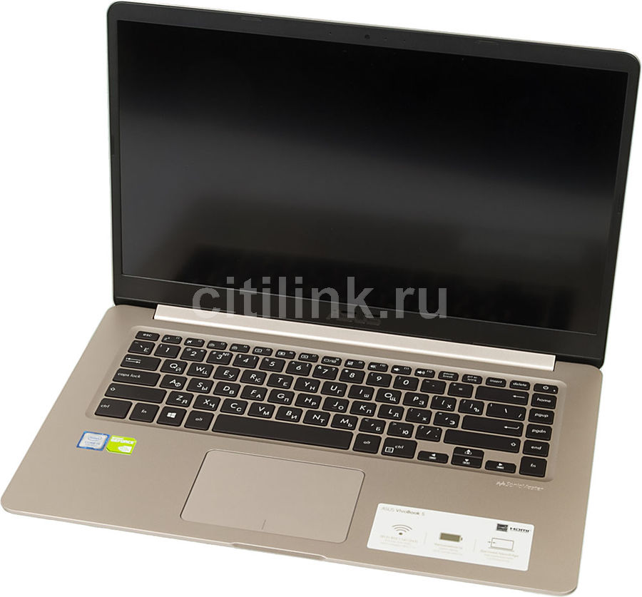 Ноутбук ASUS S510UN-BQ019T, 15.6, Intel Core i5 7200U 2.5ГГц, 8Гб, 1000Гб, 128Гб SSD, nVidia GeForce Mx150 - 2048 Мб, Windows 10, 90NB0GS1-M00420, золотистыйНоутбуки<br>экран: 15.6;  разрешение экрана: 1920х1080; процессор: Intel Core i5 7200U; частота: 2.5 ГГц (3.1 ГГц, в режиме Turbo); память: 8192 Мб, DDR4; HDD: 1000 Гб, 5400 об/мин; SSD: 128 Гб; nVidia GeForce Mx150 - 2048 Мб; WiFi;  Bluetooth; HDMI; WEB-камера; Windows 10<br>