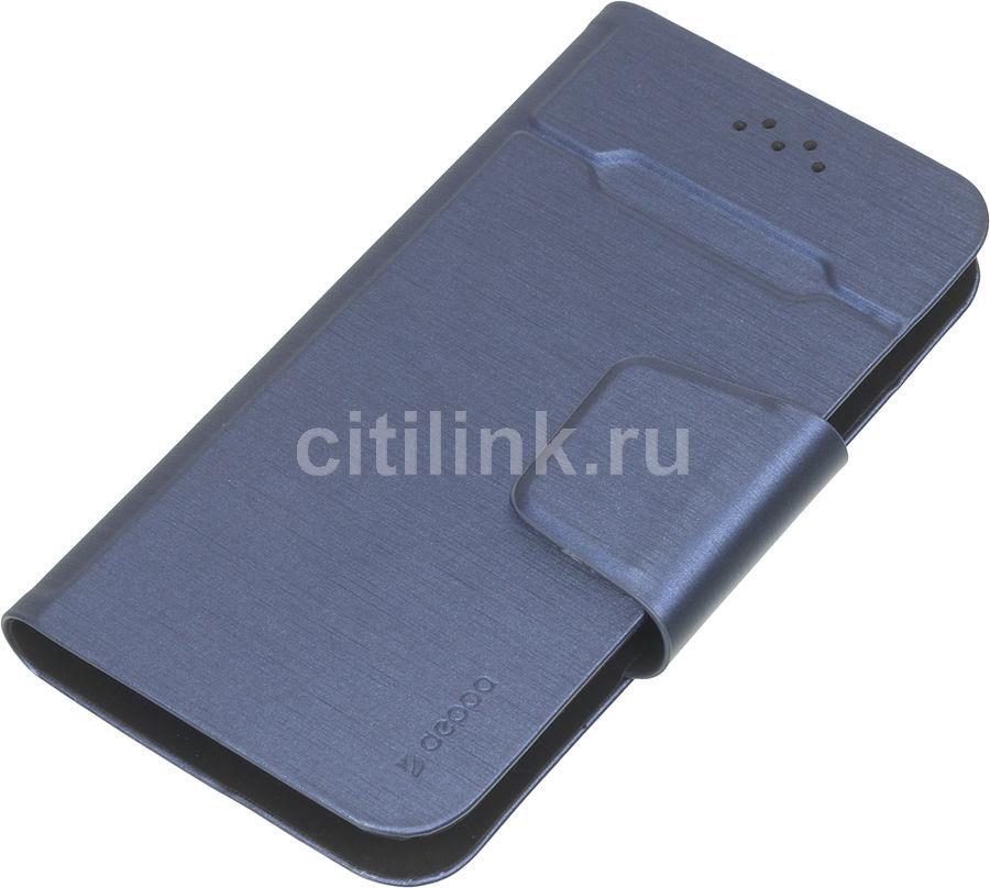 """Чехол (флип-кейс) DEPPA Wallet Fold, для универсальный 4.3-5.5"""", синий [87009]"""