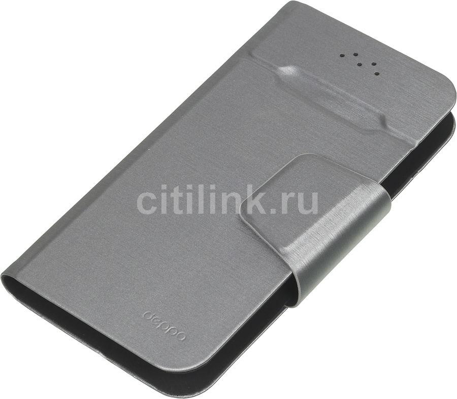 """Чехол (флип-кейс) DEPPA Wallet Fold, для универсальный 4.3-5.5"""", серый [87006]"""