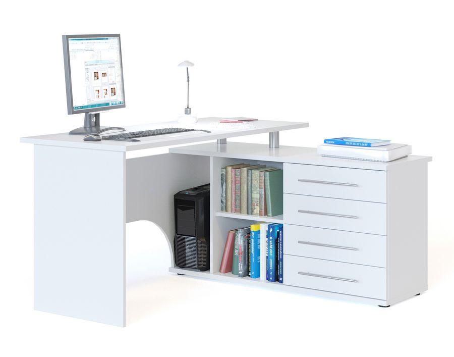 Стол компьютерный  СОКОЛ КСТ109П Б,  угловой,  ЛДСП,  белый