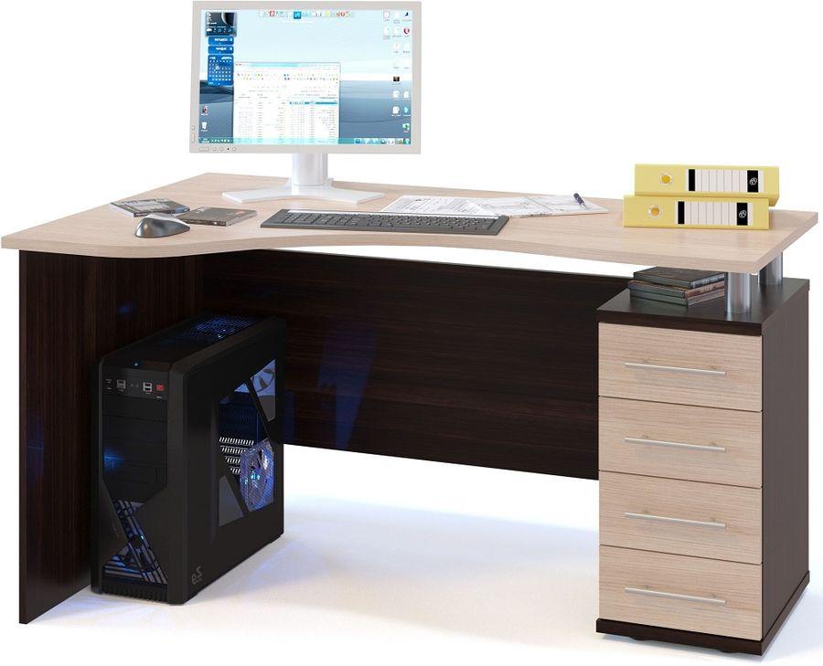 Стол компьютерный  СОКОЛ КС1041ПВкб,  угловой,  ЛДСП,  белый дуб