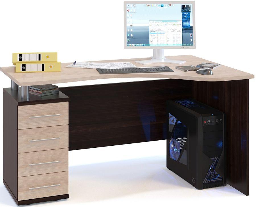 Стол компьютерный  СОКОЛ КС1041ЛВкб,  угловой,  ЛДСП,  белый дуб