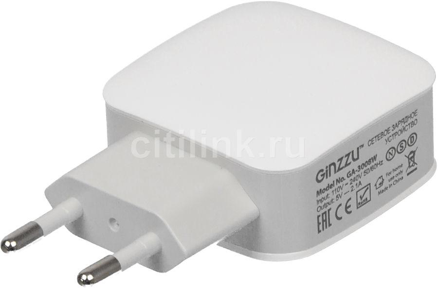 Сетевое зарядное устройство GINZZU GA-3008W,  2xUSB,  2.1A,  белый