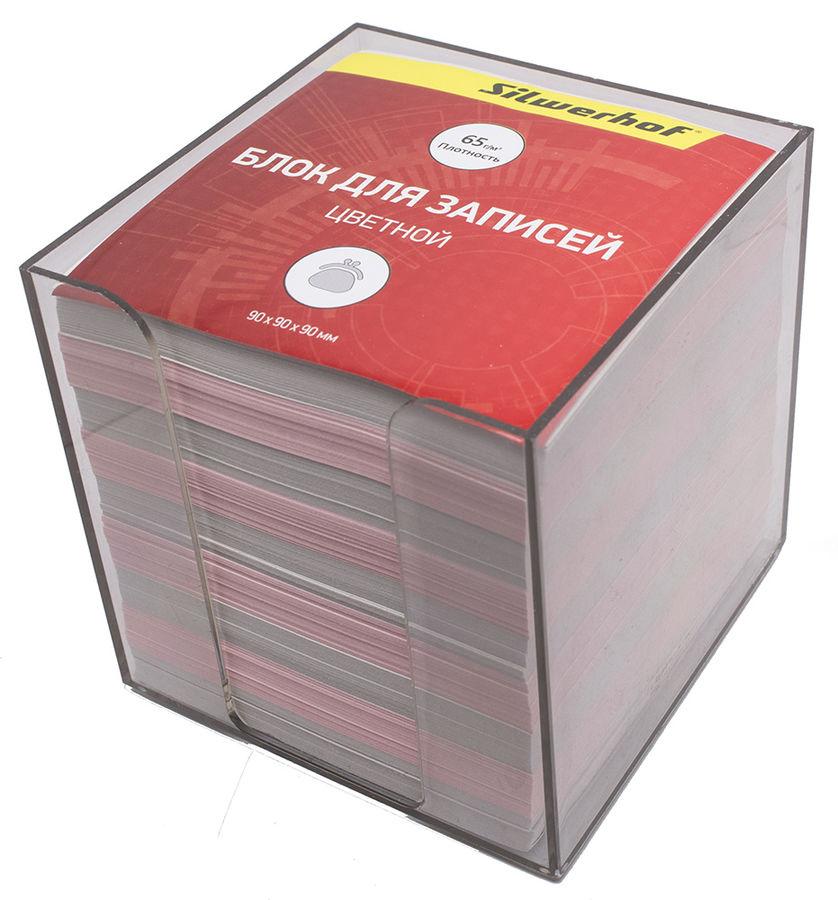 Блок для записей бумажный Silwerhof ЭКОНОМ 701016 90х90х90мм ассорти пластиковый бокс
