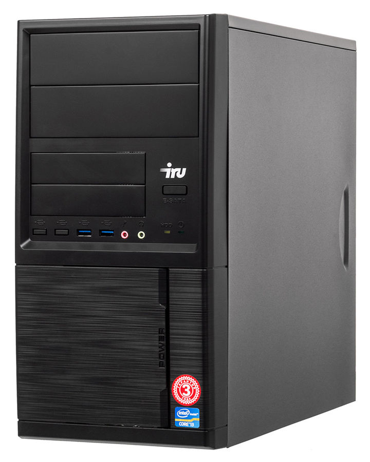 Компьютер IRU Home 313, Intel Core i3 7100, DDR4 4Гб, 1000Гб, NVIDIA GeForce GT730 - 2048 Мб, Free DOS, черный [497780] компьютер iru home 310 intel core i3 7100 ddr4 4гб 1тб amd radeon rx 460 2048 мб dvd rw windows 10 home черный [435302]