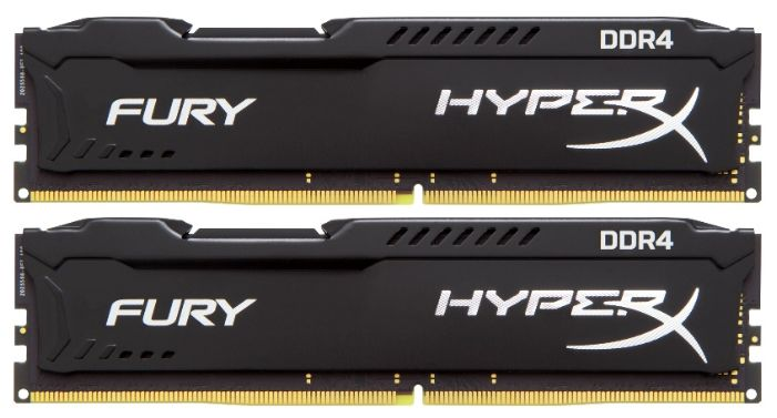 Модуль памяти KINGSTON HyperX Fury HX424C15FB2K2/16 DDR4 - 2x 8Гб 2400, DIMM, Ret модуль памяти kingston hyperx fury pc4 21300 dimm ddr4 2666mhz cl15 8gb hx426c15fb 8