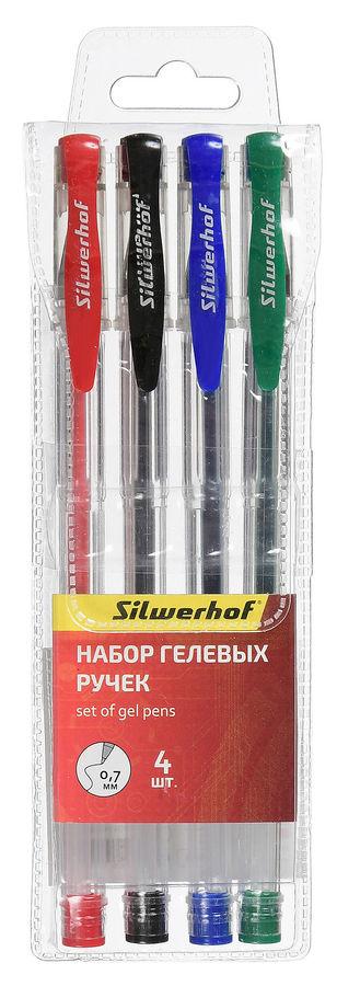 Набор гелевых ручек Silwerhof 026160-00 0.7мм 4цв. индив. пакет с европодвесом