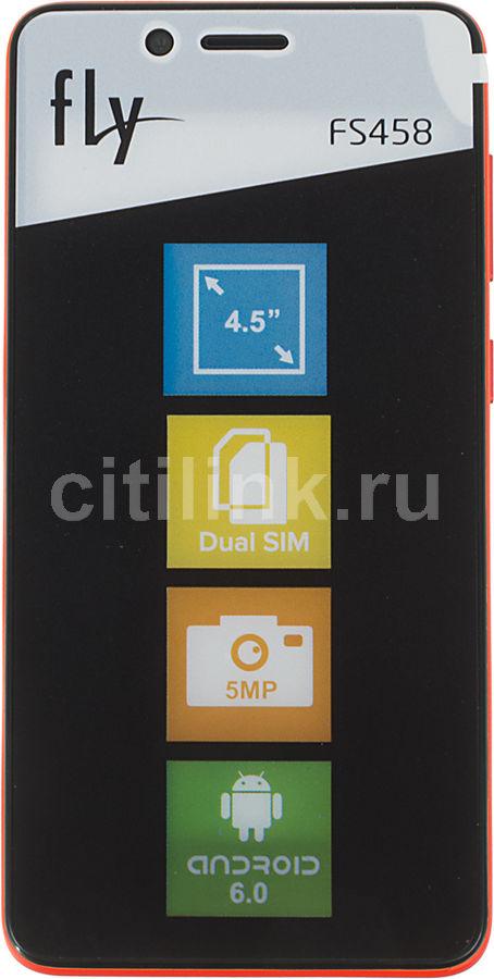Смартфон Fly Stratus 7 FS458 8Gb красный моноблок 3G 2Sim 4.5