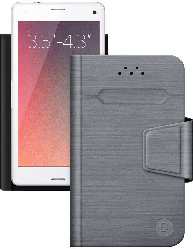 """Чехол (клип-кейс) DEPPA Wallet Fold, для универсальный 3.5-4.3"""", серый [87001]"""