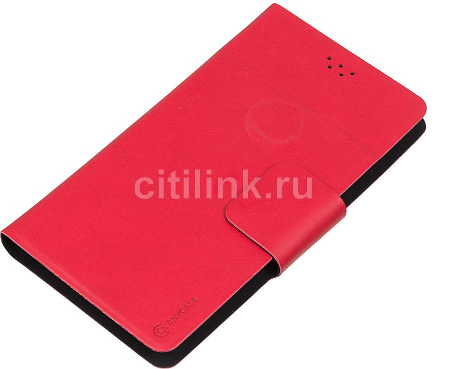 """Чехол (флип-кейс) DEPPA Anycase Wallet, для универсальный 5.5-6.5"""", красный [140008]"""