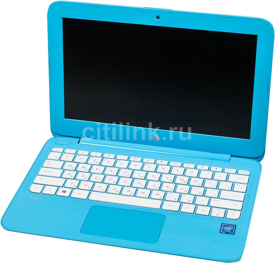 """Ноутбук HP Stream 11-y011ur, 11.6"""", Intel  Celeron  N3060 1.6ГГц, 4Гб, 32Гб SSD,  Intel HD Graphics  400, Windows 10, 2EQ25EA,  голубой"""