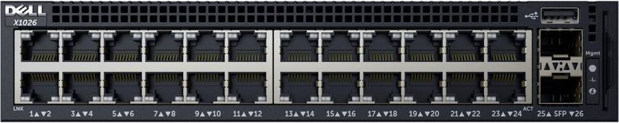 Коммутатор Dell Networking X1026 24x1GbE + 2P 1Gb SFP Web Managed Rack (210-AEIM) (463-5537)