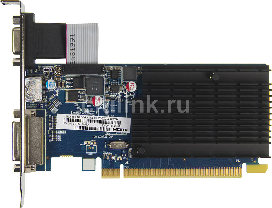 Видеокарта SAPPHIRE Radeon HD 6450, 11190-09-20G, 2Гб, DDR3, Low Profile, Ret radeon hd 7990 в екатеринбурге