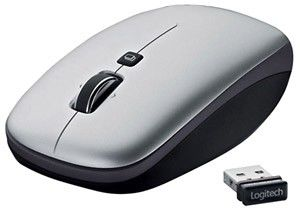 Мышь LOGITECH V550 Nano лазерная беспроводная USB, серый [910-000891]